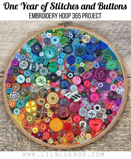 One Year of Stitches and Buttons - Embroidery Hoop 365 Project - I sewed one button or one stitch every single day for a year.