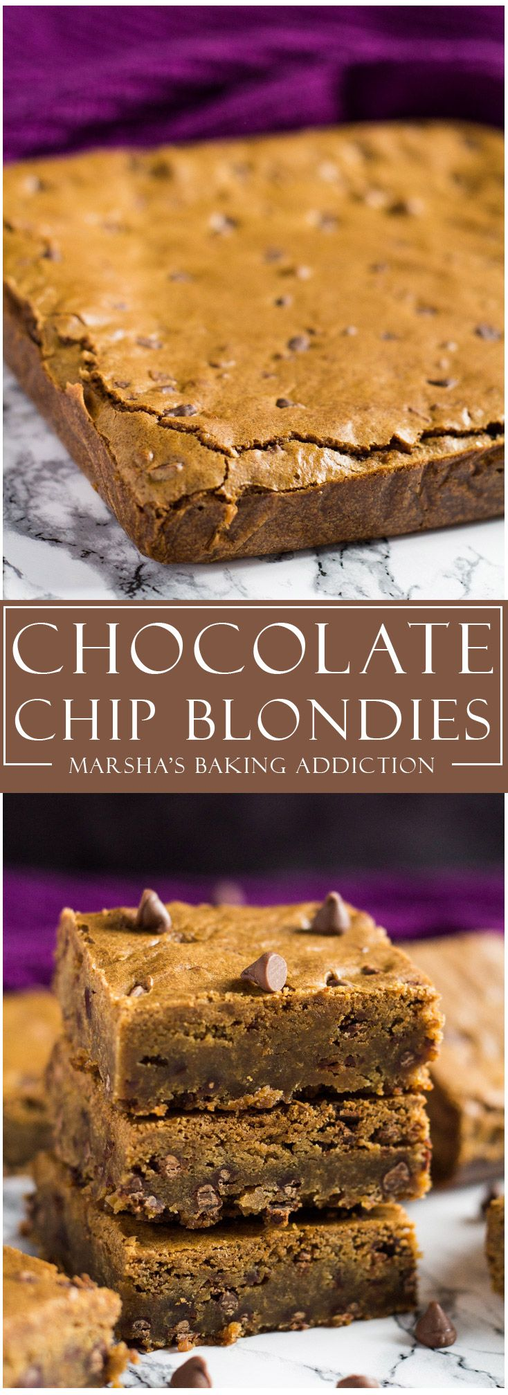 Chocolate Chip Blondies | marshasbakingaddiction.com @marshasbakeblog