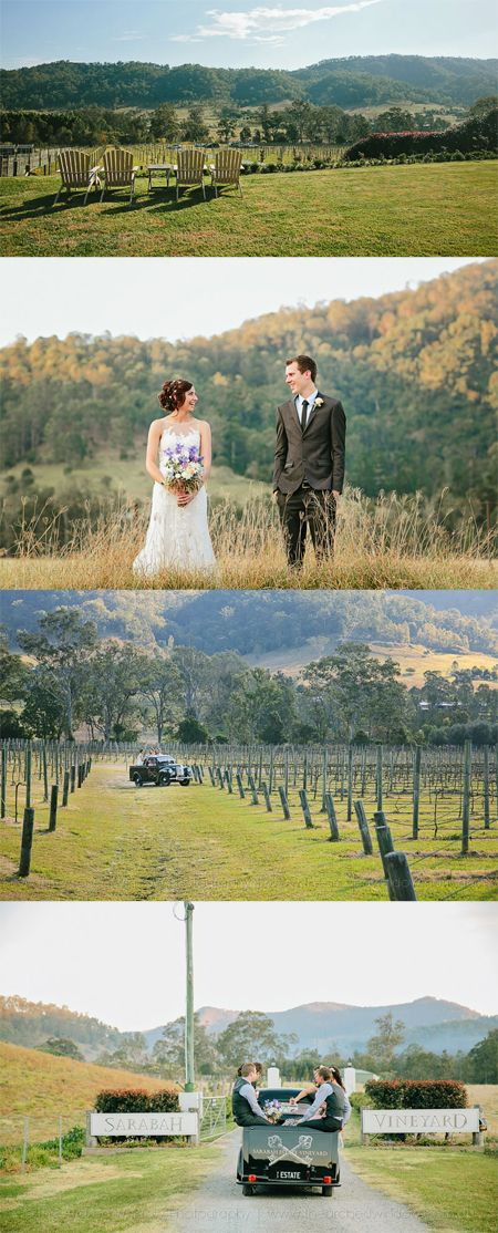 Sarabah Estate Vineyard's grounds make the perfect backdrop for your country vineyard wedding - especially when driving around in our gorgeous vintage car!