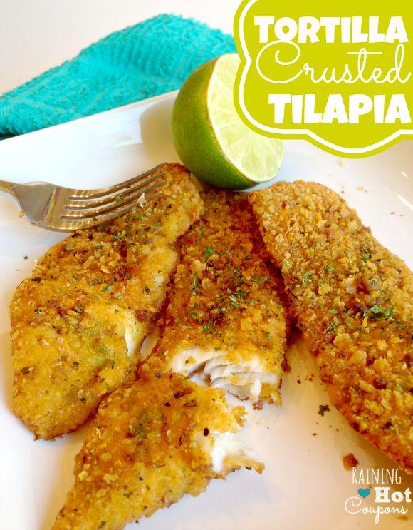 Tortilla crusted tilapia receta comida mexicanos y for Comida para tilapia