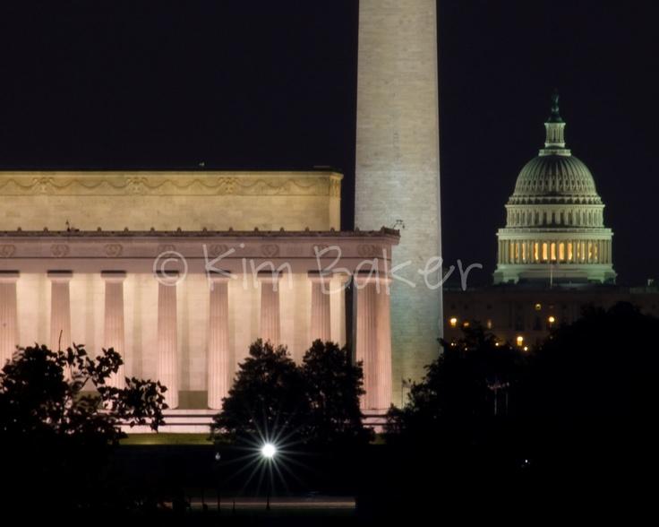 Washington Dc Skyline At Night Lincoln By Kimberlyfayebaker