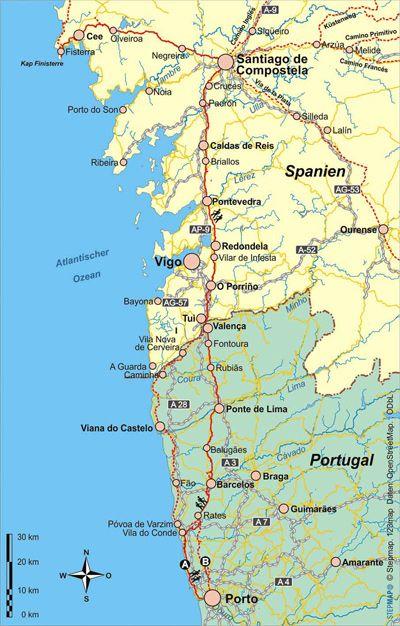 Karte - Caminho Portugues - Der Jakobsweg in Portugal