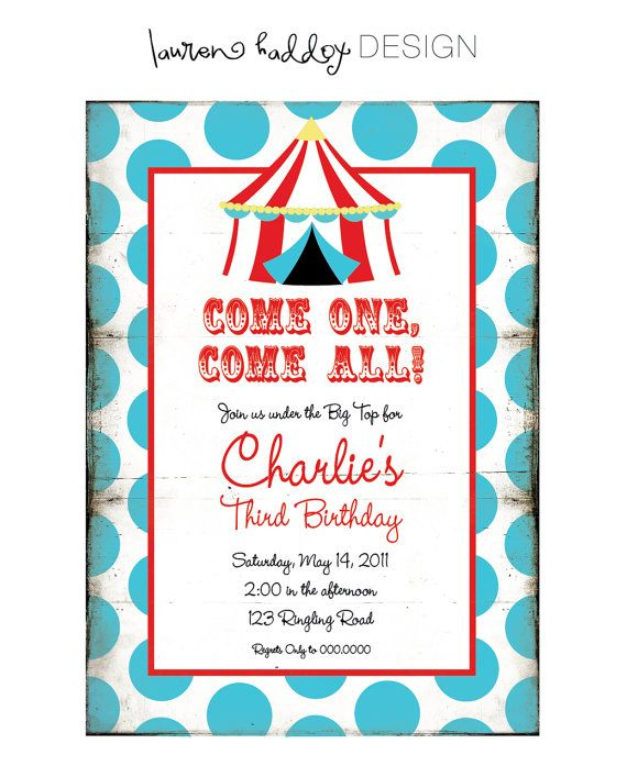 108 best Bailessu0027 Circus 2nd birthday party images on Pinterest - circus party invitation
