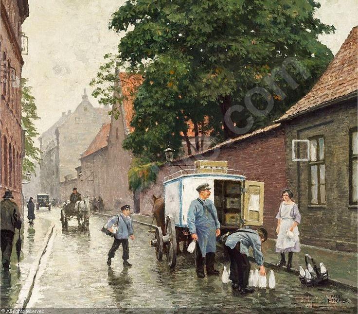 FISCHER Paul Gustave, 1860-1934 (Denmark)  Title : Gadeparti fra Skt. Pederstræde, set fra Vester Voldgade, med mælkevogn og folkeliv.