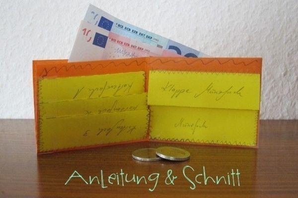 Zum Spielen, Ausgehen oder für als Geldgeschenk Idee: ein Kleines Portemonnaie Selber Machen, einfach und schnell mit dieser kostenlosen Anleitung