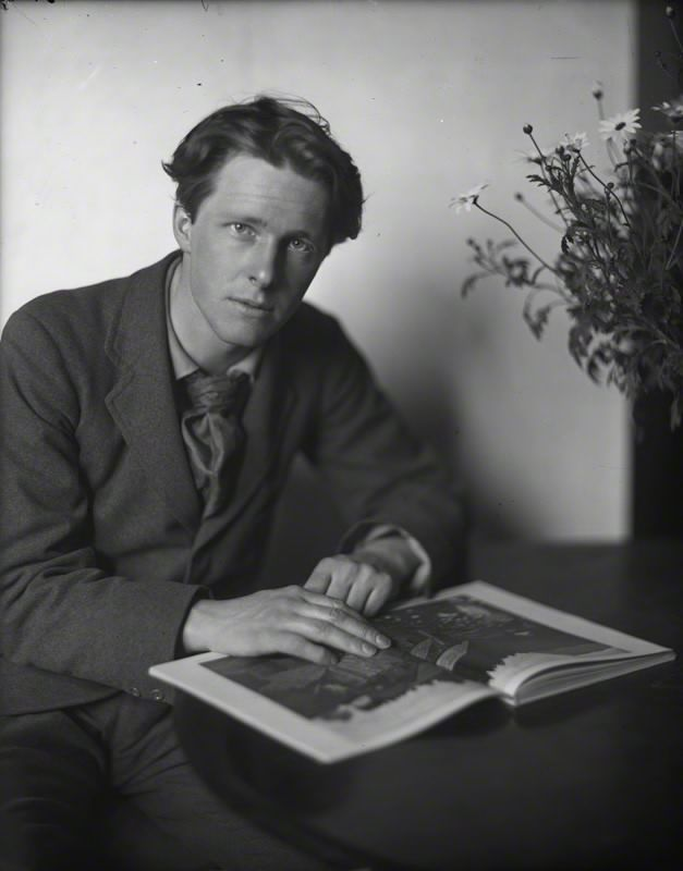 "Rupert Brooke (1887–1915) was an English poet known for his idealistic war sonnets written during the First World War, especially ""The Soldier""."