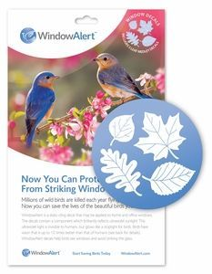 WA-LM Window Alert is a static-cling decal that may be applied to window glass. The decal contains a component which brilliantly reflects ultraviolet sunlight. This ultraviolet light is invisible to humans, but glows brilliantly for birds.