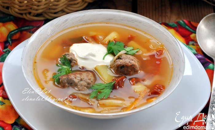 Итальянский суп с фрикадельками и вялеными помидорами Ароматный, сытный, вкусный суп! Приятного вам аппетита! #едимдома #готовимдома #рецепты #кулинария #домашняяеда #суп #обед