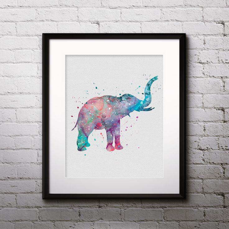 Elephant animals art print poster Printable Watercolor Home decor Wall art print