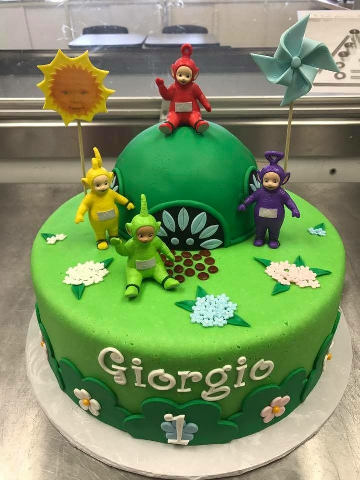See my other pin where I link the Teletubbies figurines. Everything is edible about this cake other than the Teletubbies. I ordered those off of Amazon