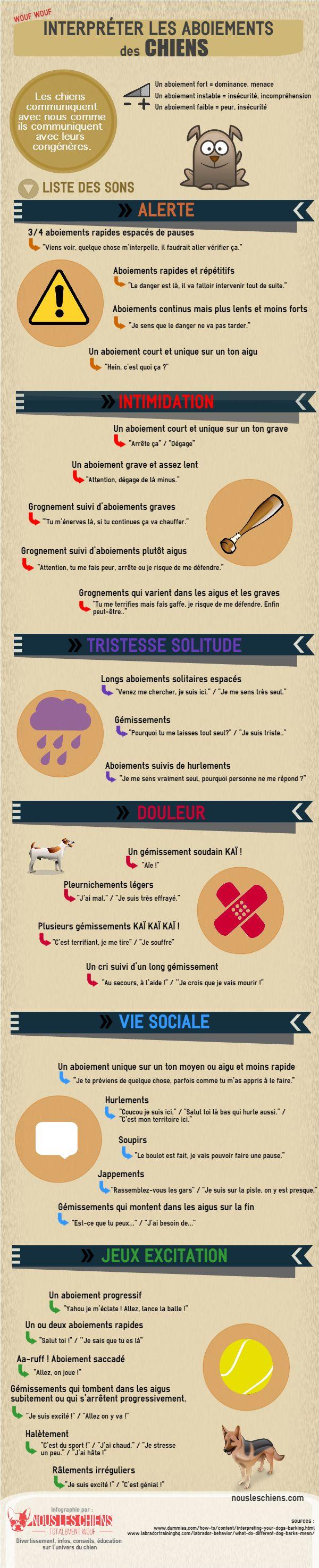 Infographie : Interpréter les aboiements des chiens - Nous les chiens
