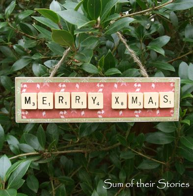 Scrabble Tile Christmas Ornament - sumoftheirstories.blogspot.co.uk - #christmas