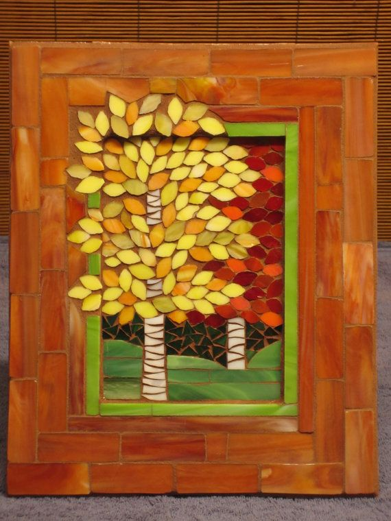 Fall Birch Trees mosaic art for table top or hanging by CrackMeUp, $98.00