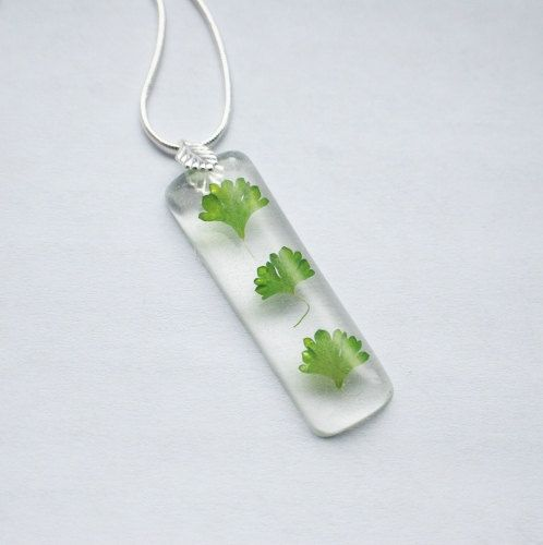 Real Leaf Necklace Resin Jewelry Botanical Green Leaf Spring Tiny Specimen Necklace Unique Real Flowers, $25.00
