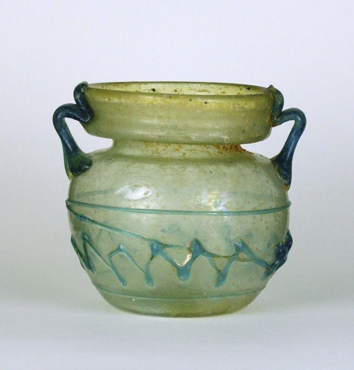 22R Roman Glass Zig-Zag Jar, 3rd-4th Century
