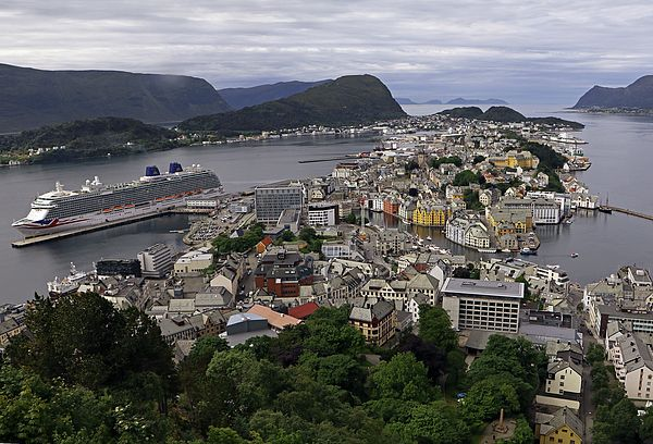 The centre of Alesund, Norway.showing the cruise ship Britannia.