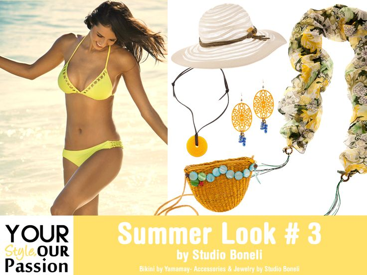 "Summer Look #3 by Studio Boneli! ""The Sunset Princess"" Ρομαντική και δροσερή εμφάνιση για την παραλία! Μονόχρωμο μαγιό σε φωτεινά χρώματα με ιδιαίτερα αξεσουάρ!  #YSOP #Summertime #Fashion #Style"