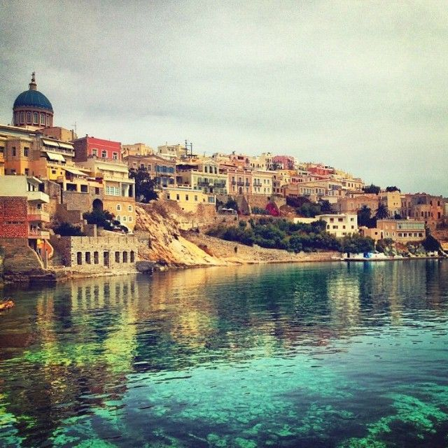 Beautiful buildings in the capital of Cyclades islands , Syros island (Σύρος) .