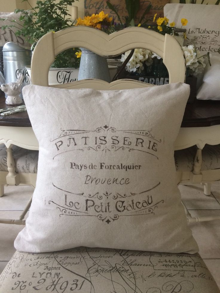 French Country Throw Pillow Cover/Farmhouse/Rustic/Feed Sack/Grain Sack/Canvas by MarCostaMarket on Etsy https://www.etsy.com/listing/269488423/french-country-throw-pillow