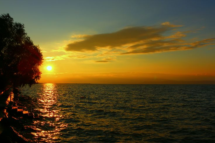 Sunset in the middle of Fall at lake Balaton