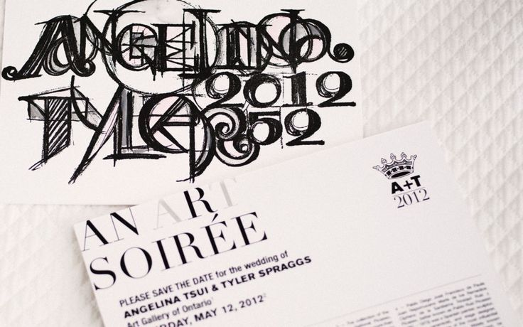 Luxury Invitation/Save the Date for an Art-Inspired wedding at the Art Gallery of Ontario Inspired by Picasso and the Cubist Style. Original Artwork, produced in charcoal, letterpress, foil press and watercolour. www.palettera.ca
