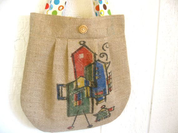 Eco Friendly. Upcycled Burlap Market Bag. Earth Day. Spring. Fashion. Cupcake. Apple. Cherry. Polka Dot. Oversized Tote.