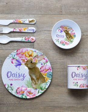 Personalised Melamine Kids Dinner Set. Bowl, Plate, Mug & Cutlery