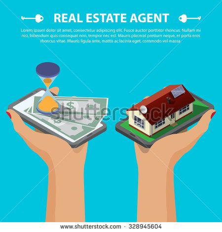 Flat 3d isometric creative mobile real estate sale web infographics concept. Two hands with smartphone on micro house street block and with hourglass and money. Isometric illustration