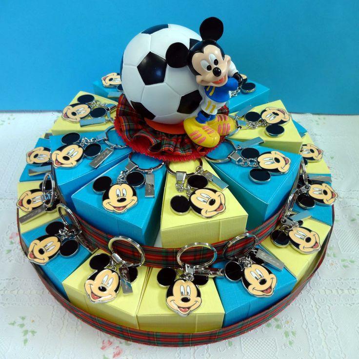 Italian Favor Cake with Disney Mickey Mouse with key rings. http://www.tortebomboniere.com/bomboniere/walt-disney-favor-cake.html