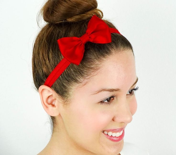 Red Snow White Hair Bow Headband Halloween Costume
