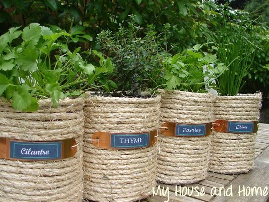Potted Herb Garden Ideas not only does this herb shelf uses your vertical space into a beautiful and productive potted garden but its also a rather an easy to make project Twine Wrapped Cans Turned Into Herb Pots Httpwwwjollylane