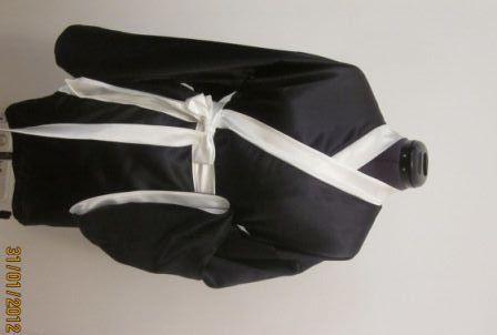Белье ручной работы. Ярмарка Мастеров - ручная работа Черное атласное кимоно с белым кантом. Handmade.