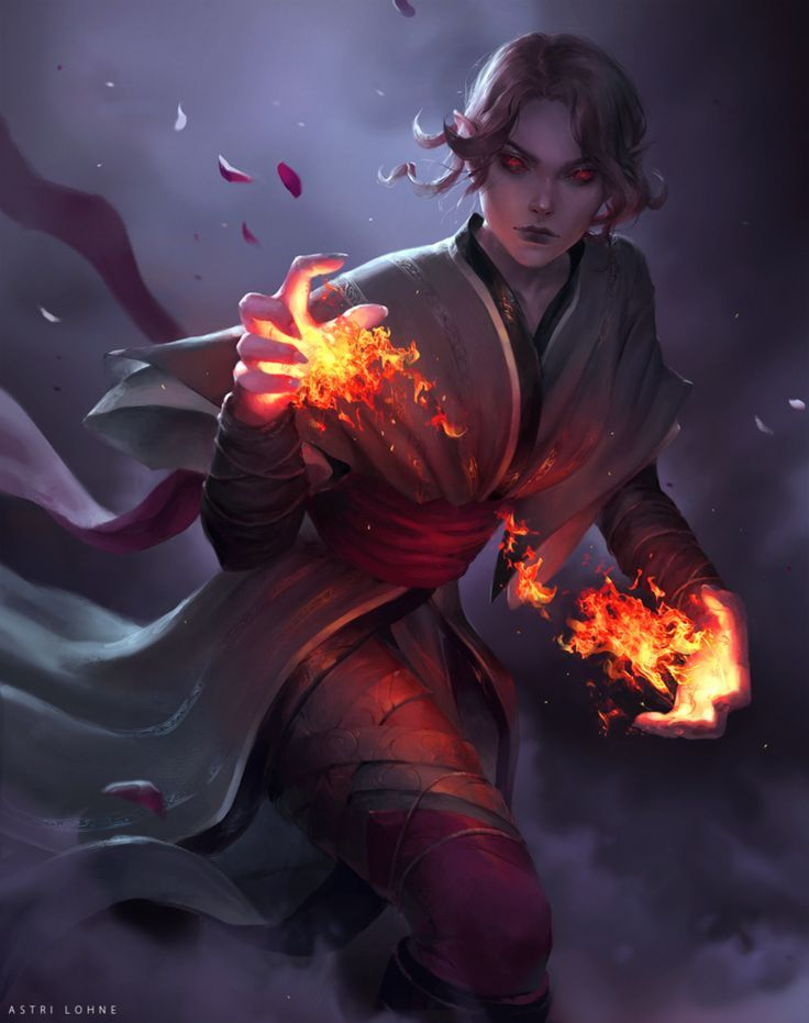 Ishtyh [C] by Astri-Lohne fire caster mage / wizard ...Female Fire Elemental