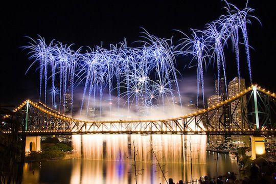 Brisbane fireworks over the Brisbane River