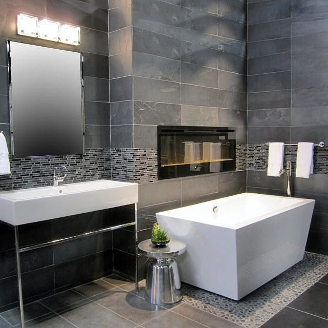 A Grey Contemporary Wall Tile For The Modern Bathroom Design  Adoni Black  Slate Floor Tile