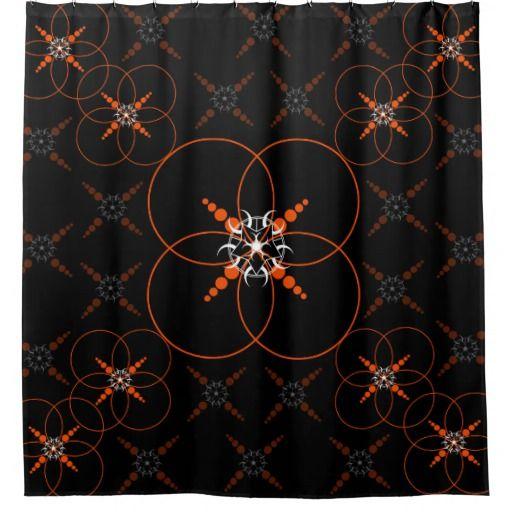 Orange Crop Circle Shower Curtain
