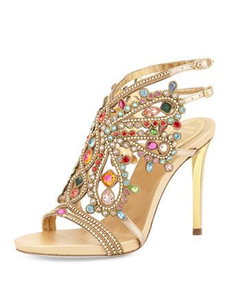 Multi-Crystal Strappy Sandal, Gold/Multi by Rene Caovilla at Neiman Marcus.