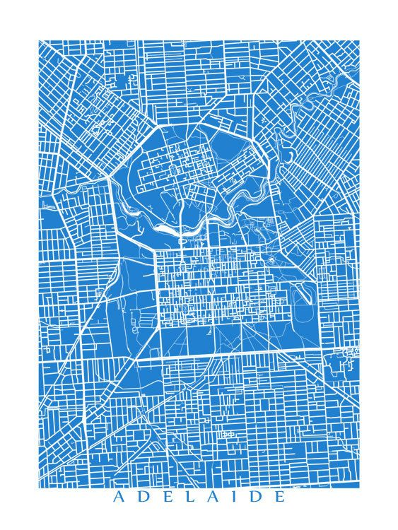 Adelaide Map Art by CartoCreative on Etsy