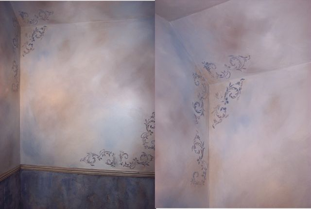Adding Character To Ceilings-Part 2 Faux walls, and ceiling guide, what to do and where to stop the paint. Faux finished bathroom walls and ceiling. Aged plaster finish under chair rail, multi colored glaze on top. Theraggedwren.blogspot.com