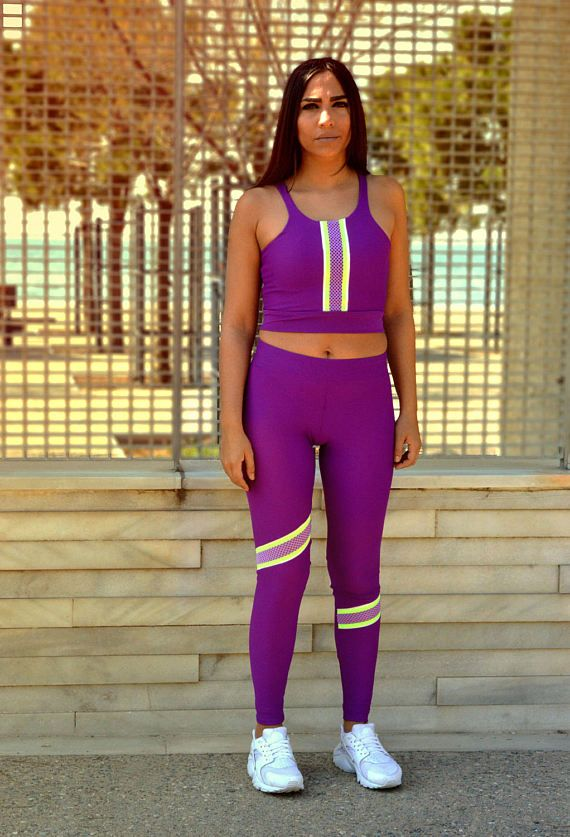 Purple Woman Outfit Workout Set Purple Leggings Workout