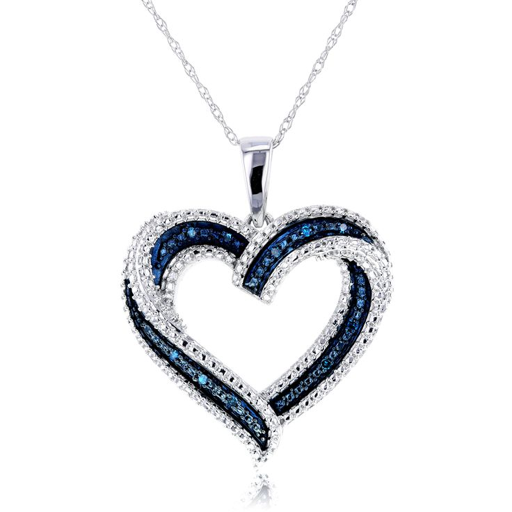 Our Blue Diamond Heart Pendant is nothing, but a striking piece of divine beauty that once seen, it could never be forgotten. Only looking at its two-toned heart pendant adorned with blue & white diam