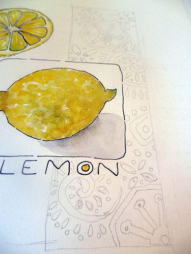 tiny tutorial ~ sketch and watercolor a lemon  Jane LaFazio