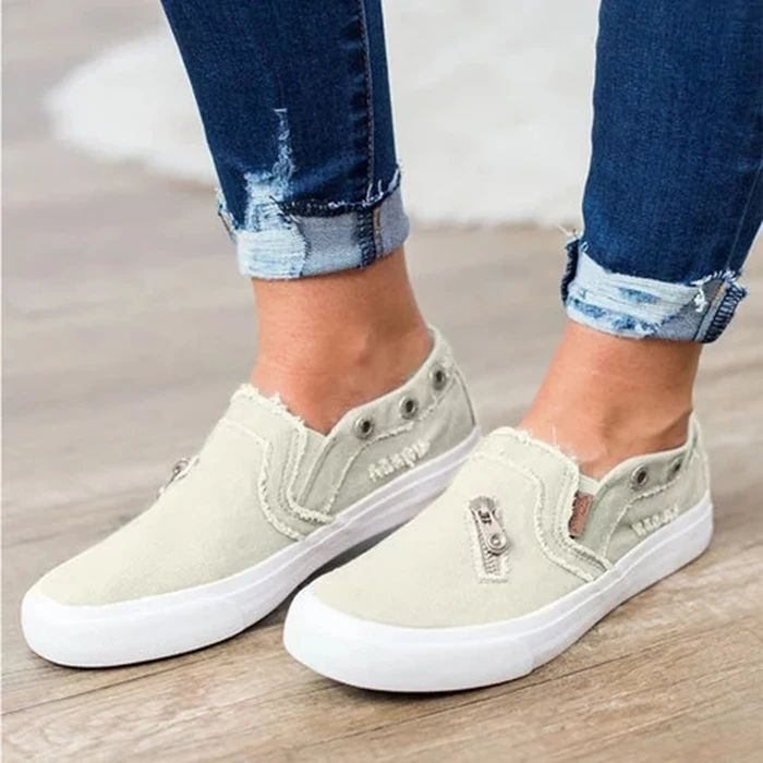 Women Distressed Canvas Sneaker Loafers