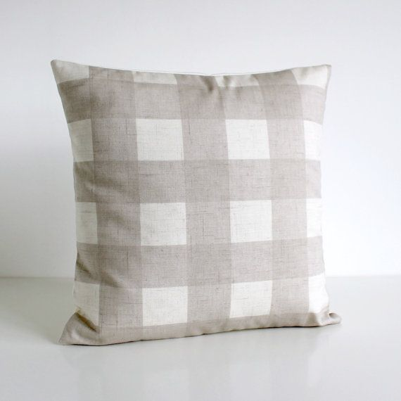 Cottage Chic, Buffalo Check Pillow Cover, Gingham Cushion Cover, Shabby Chic Pillow Sham, Throw ...