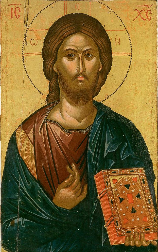 An Art work of Jesus Christ Pantokrator showing, him holding a bible of sorts plus his wearing very known garments of dark crimson, gold and a dark emerald. this art work is known to be Byzantine as the shape of the head mostly but also the colours and backdrop. a difference between roman and byzantine is the way the backdrop is depicted.