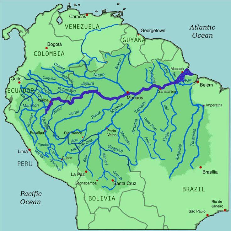 dünyanın en büyük nehri Amazon Nehri haritası