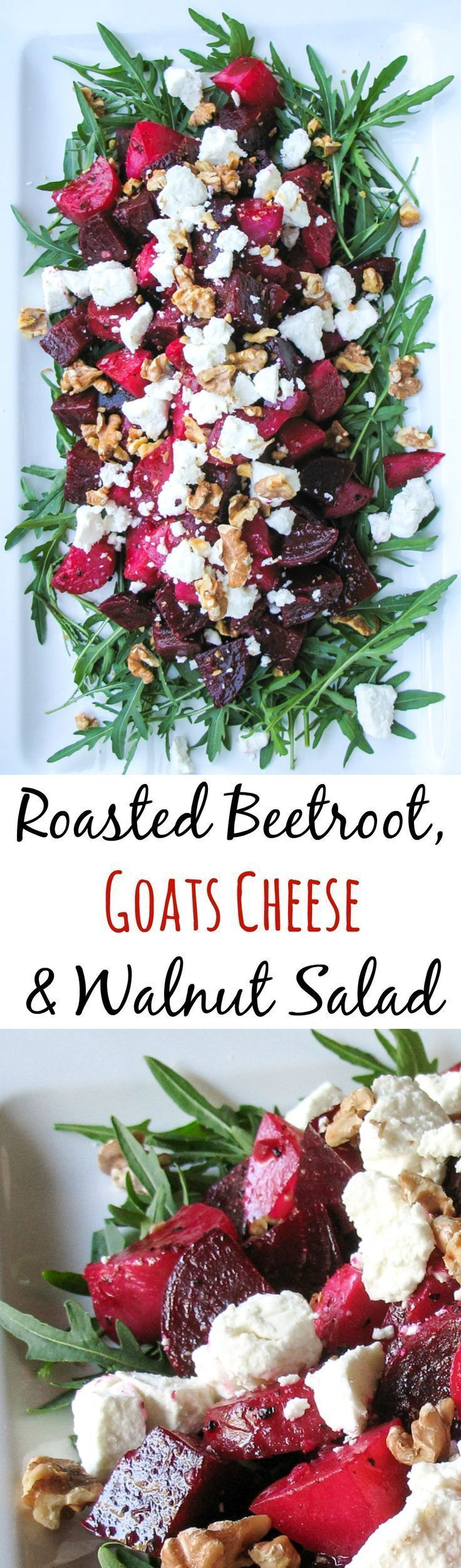 Roasted Beetroot, Goats Cheese & Walnut Salad. A Great main course salad. #beetrootsaladrecipes