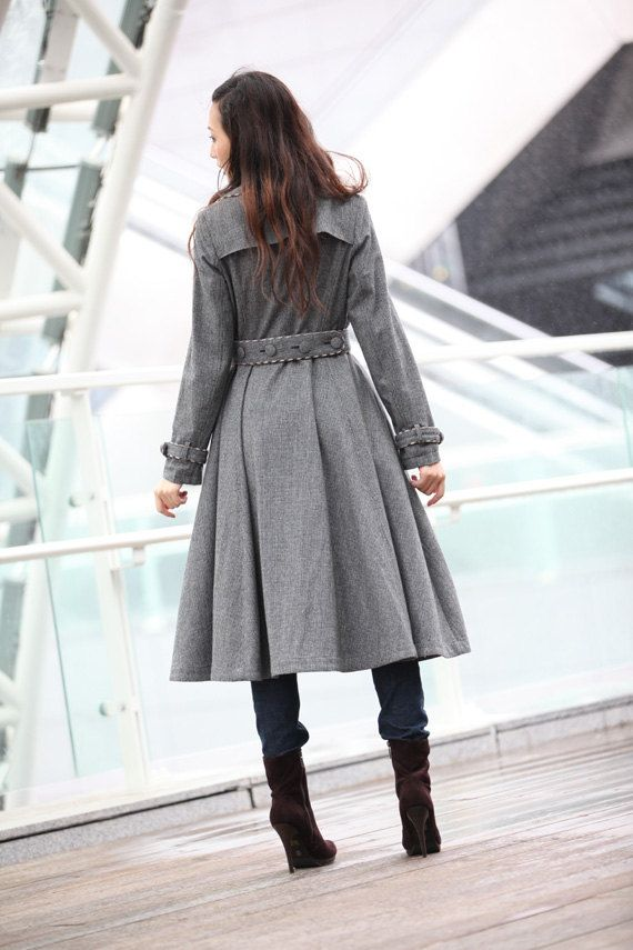 Grau Coat Big Sweep Frauen Wolle Wintermantel von Sophiaclothing