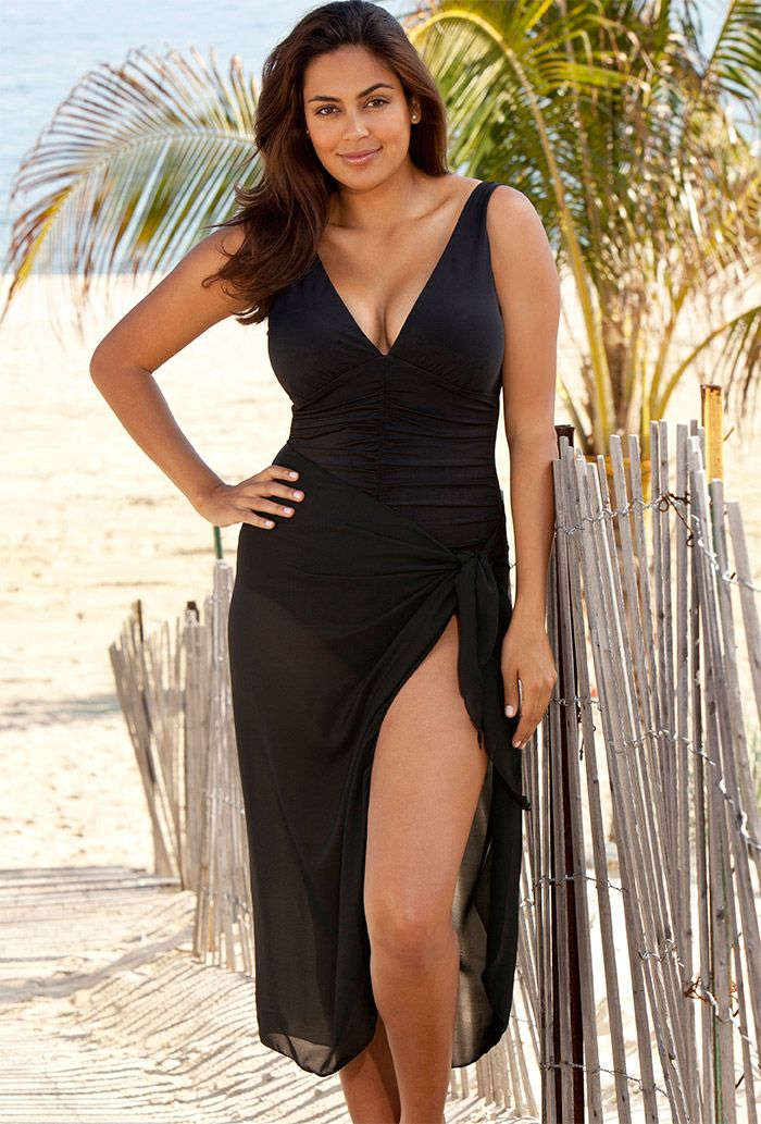 Beach Belle Sheer Black Sarong Plus Size Swimwear Plus