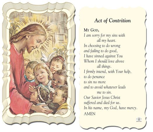 Act Of Contrition Holy Card by Hirten   Catholic Shopping .com